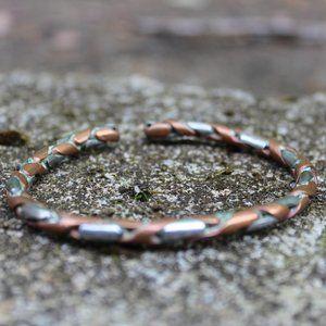 [5/$25] Copper Silver Braid metal Cuff Bracelet